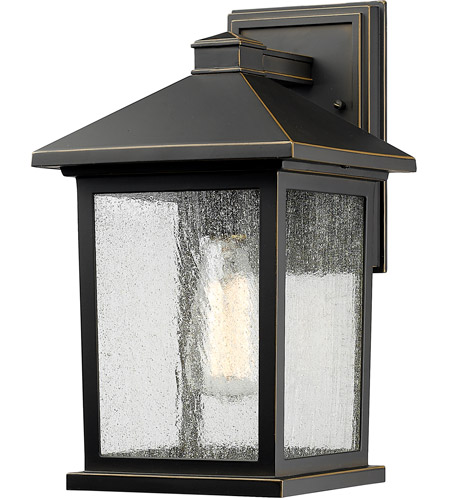 Z-Lite 531M-ORB Portland 1 Light 14 inch Oil Rubbed Bronze Outdoor Wall Sconce in Clear Seedy Glass photo