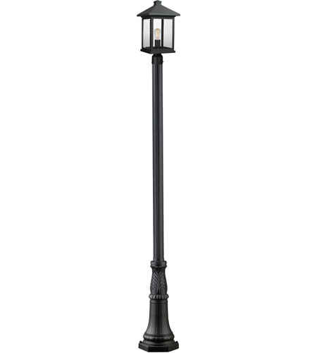 Z-Lite 531PHBR-518P-BK Portland 1 Light 112 inch Black Post Mount Light photo