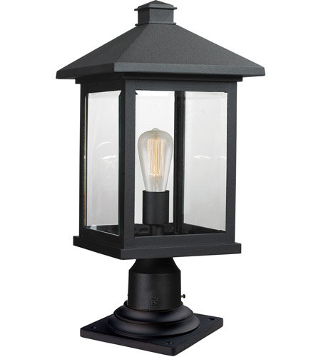 Z-Lite 531PHBR-533PM-BK Portland 1 Light 20 inch Black Outdoor Pier Mounted Fixture in Clear Beveled Glass photo