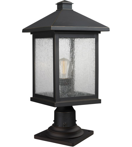 Z-Lite 531PHBR-533PM-ORB Portland 1 Light 20 inch Oil Rubbed Bronze Outdoor Pier Mounted Fixture in Clear Seedy Glass photo