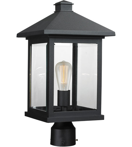 Z-Lite 531PHBR-BK Portland 1 Light 19 inch Black Post Mount Light in Clear Beveled Glass photo