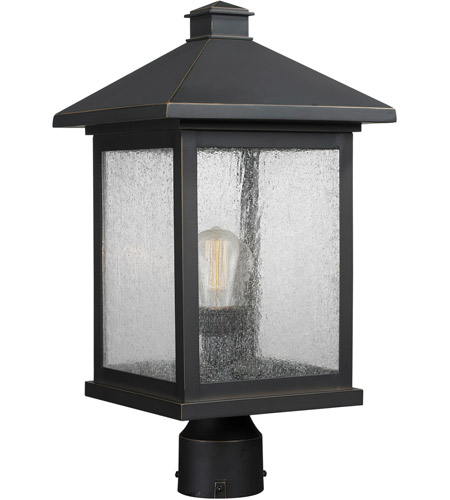 Z-Lite 531PHBR-ORB Portland 1 Light 19 inch Oil Rubbed Bronze Outdoor Post Mount Fixture in Clear Seedy Glass photo