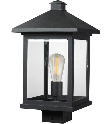 Z-Lite 531PHBS-BK Portland 1 Light 17 inch Black Post Mount Light in Clear Beveled Glass photo