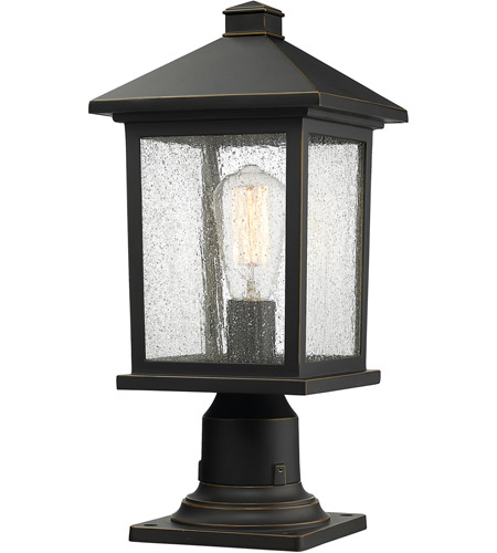 Z-Lite 531PHMR-533PM-ORB Portland 1 Light 18 inch Oil Rubbed Bronze Outdoor Pier Mounted Fixture in Clear Seedy Glass photo