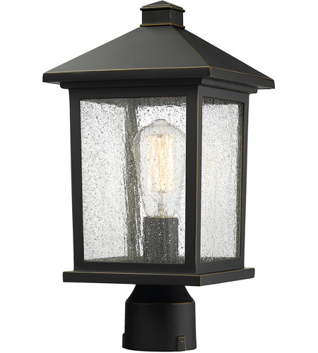 Z-Lite 531PHMR-ORB Portland 1 Light 16 inch Oil Rubbed Bronze Outdoor Post Mount Fixture in Clear Seedy Glass photo