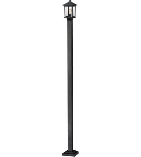 Z-Lite 531PHMS-536P-BK Portland 1 Light 109 inch Black Outdoor Post Mounted Fixture in Clear Beveled Glass photo