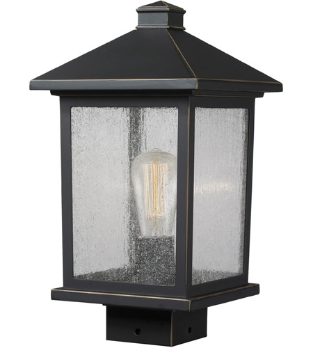 Z-Lite 531PHMS-ORB Portland 1 Light 14 inch Oil Rubbed Bronze Outdoor Post Mount Fixture in Clear Seedy Glass photo
