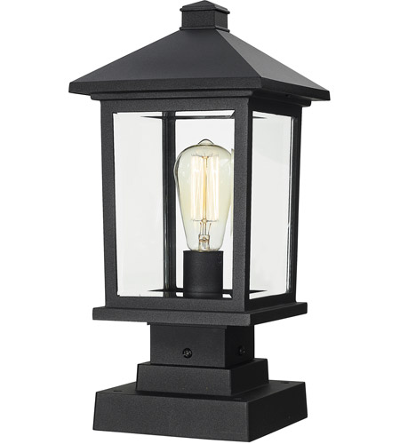 Z-Lite 531PHMS-SQPM-BK Portland 1 Light 17 inch Black Outdoor Pier Mounted Fixture in Clear Beveled Glass photo