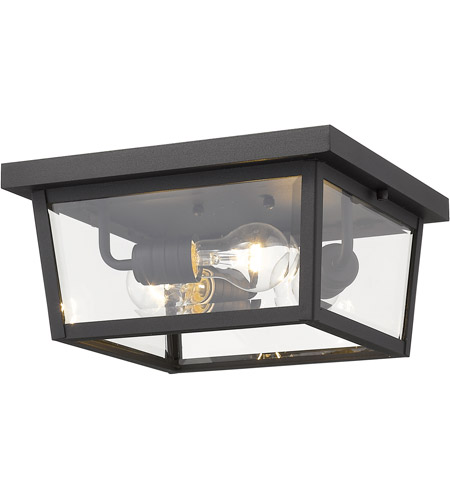Z-Lite 568F-BK Beacon 3 Light 12 inch Black Outdoor Flush Mount photo