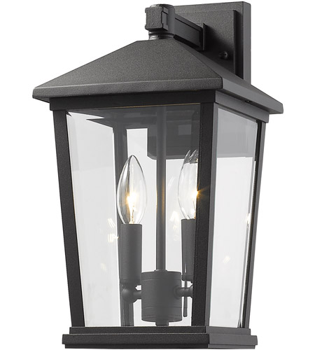 Z-Lite 568M-BK Beacon 2 Light 15 inch Black Outdoor Wall Sconce photo