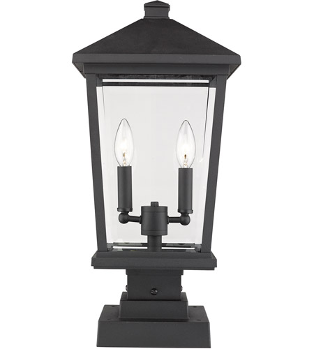 Z-Lite 568PHBS-SQPM-BK Beacon 2 Light 23 inch Black Outdoor Pier Mounted Fixture photo