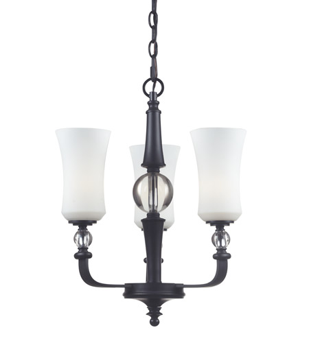 Z-Lite Harmony 3 Light Chandelier in Matte Black with White Glass 604-3 photo