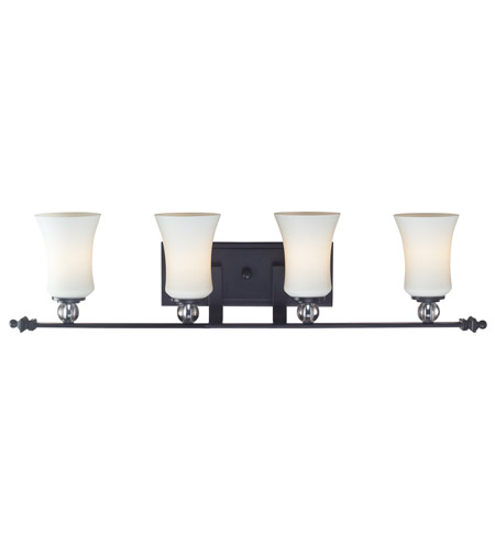 Z lite harmony 4 light vanity in matte black with white for Z gallerie bathroom lights