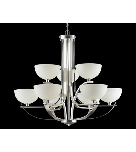 Z-Lite Ellipse 9 Light Chandelier in Chrome with Matte Opal Glass 605-9 photo