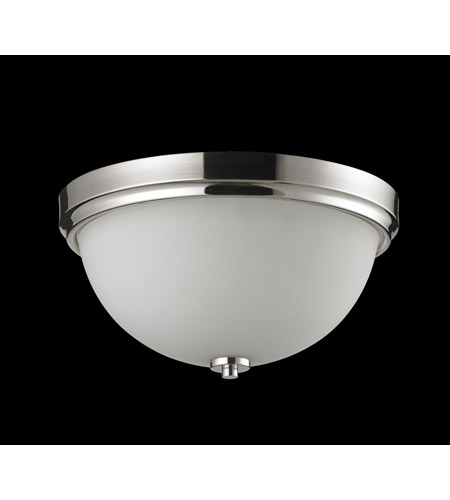 Z-Lite Ellipse 2 Light Flush Mount in Chrome with Matte Opal Glass 605F2 photo