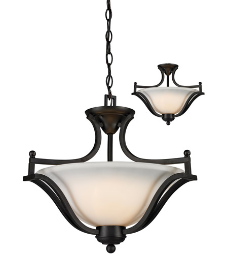 Z-Lite 703SFC-MB Lagoon 3 Light 20 inch Matte Black Pendant Ceiling Light photo