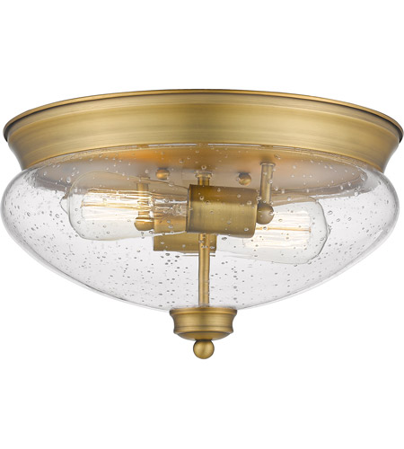 Z-Lite 722F2-HBR Amon 2 Light 13 inch Heritage Brass Flush Mount Ceiling Light photo thumbnail