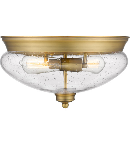 Z-Lite 722F2-HBR Amon 2 Light 13 inch Heritage Brass Flush Mount Ceiling Light alternative photo thumbnail