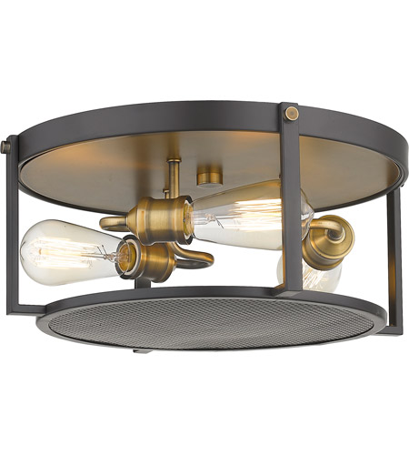 Z-Lite 723F15-BRZ+HBR Halycon 3 Light 16 inch Bronze and Heritage Brass Flush Mount Ceiling Light photo thumbnail
