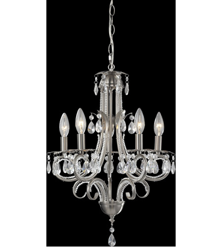 Z-Lite 849BN Pearl 5 Light 15 inch Brushed Nickel Mini Chandelier Ceiling Light photo