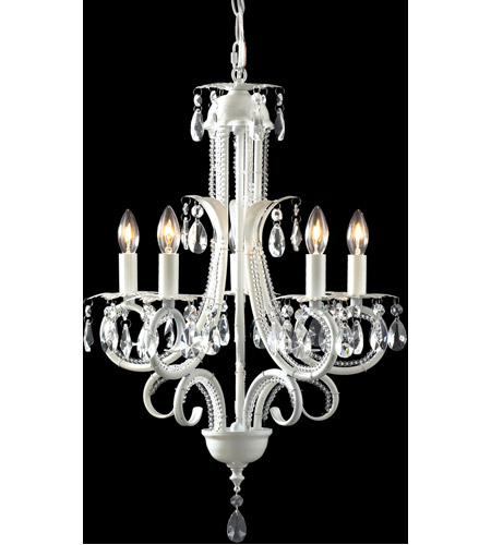 Z-Lite 849W Pearl 5 Light 15 inch Gloss White Mini Chandelier Ceiling Light photo