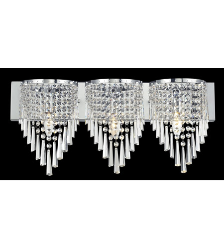 Z lite tango 3 light vanity in crome with crystal glass for Z gallerie bathroom lights