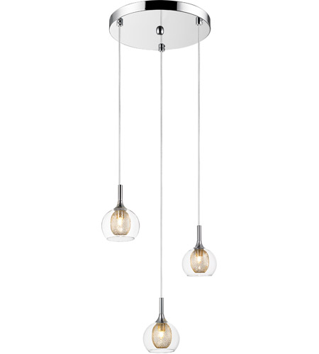 Z-Lite 905-3 Auge 3 Light 13 inch Chrome Pendant Ceiling Light photo