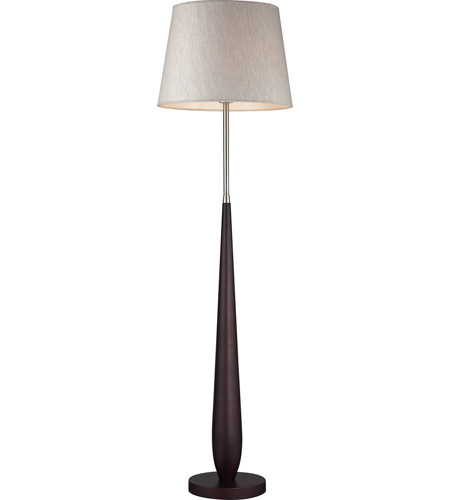 Z-Lite Portable Lamps 1 Light Floor Lamp in Mahogany Finish/Flax Linen FL104 photo