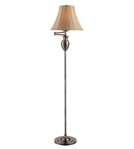 Z-Lite Portable Lamps 1 Light Floor Lamp in Black Nickel with Fawn Shade FL28 photo
