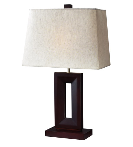 Z-Lite Portable Lamps 1 Light Table Lamp in Mahogany Finish/Flax Linen TL102 photo