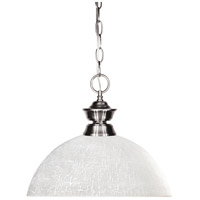 Shark 1 Light 14 inch Brushed Nickel Pendant Ceiling Light in 13.5, White Linen Dome