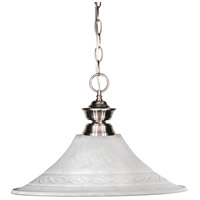 Shark 1 Light 16 inch Brushed Nickel Pendant Ceiling Light in White Mottle Flared