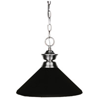 Z-Lite 100701BN-MMB Pendant Lights 1 Light 14 inch Brushed Nickel Pendant Ceiling Light in Matte Black