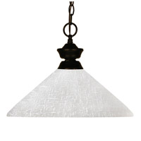 Z-Lite 100701BRZ-AWL14 Challenger 1 Light 14 inch Bronze Pendant Ceiling Light in White Linen Angular