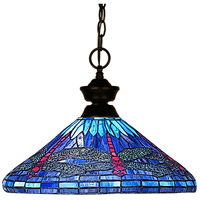 Signature 1 Light 16 inch Bronze Pendant Ceiling Light in Multi Colored Tiffany Glass (D16)