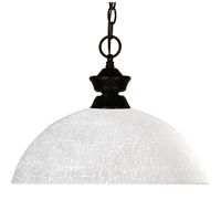 Z-Lite 100701BRZ-DWL14 Riviera 1 Light 14 inch Bronze Pendant Ceiling Light in White Linen Dome photo thumbnail
