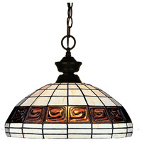Signature 1 Light 14 inch Bronze Billiard/Pendant Ceiling Light in Multi Colored Tiffany Glass (F14-1)