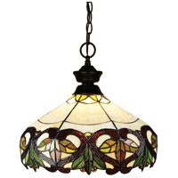Signature 1 Light 14 inch Bronze Pendant Ceiling Light in Multi Colored Tiffany Glass (33)