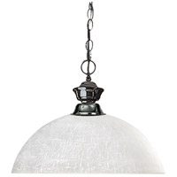 Z-Lite 100701GM-DWL14 Shark 1 Light 14 inch Gun Metal Billiard/Pendant Ceiling Light in White Linen Dome photo thumbnail