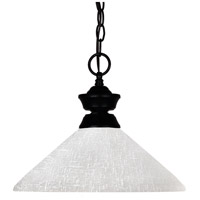 Shark 1 Light 14 inch Matte Black Pendant Ceiling Light in White Linen Angular