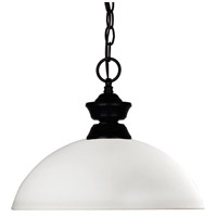 Z-Lite 100701MB-DMO14 Shark/Windsor 1 Light 14 inch Matte Black Pendant Ceiling Light in Matte Opal Dome