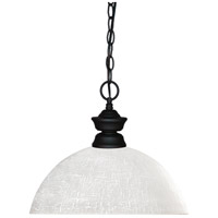 Shark 1 Light 14 inch Matte Black Island Light Ceiling Light in 13.5, White Linen Dome