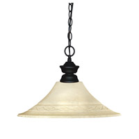 Z-Lite 100701MB-FGM16 Shark 1 Light 17 inch Matte Black Island Light Ceiling Light in Golden Mottle Fluted, 16.5