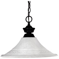 Shark 1 Light 16 inch Matte Black Pendant Ceiling Light in White Mottle Fluted