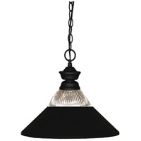 Shark 1 Light 14 inch Matte Black Island/Billiard Ceiling Light in Clear Ribbed and Matte Black, 14.25