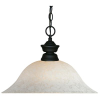 Signature 1 Light 16 inch Matte Black Pendant Ceiling Light in White Mottle