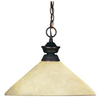 Riviera 1 Light 14 inch Olde Bronze Billiard/Pendant Ceiling Light in Golden Mottle Angular