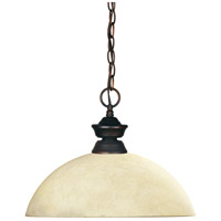 Z-Lite 100701OB-DGM14 Shark 1 Light 14 inch Olde Bronze Island Light Ceiling Light in Golden Mottle Dome, 13.5