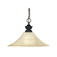 Z-Lite 100701OB-FGM16 Riviera 1 Light 16 inch Olde Bronze Pendant Ceiling Light in Golden Mottle Flared photo thumbnail