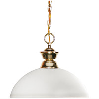 Z-Lite 100701PB-DMO14 Shark 1 Light 14 inch Polished Brass Island Light Ceiling Light in 13.5, Matte Opal Dome